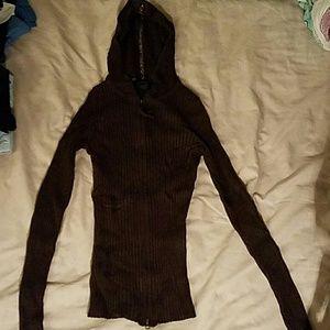 Brown stretchy zipped hoodie